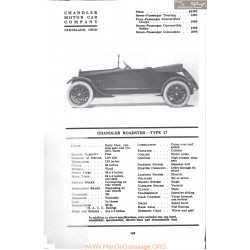 Chandler Roadster Type 17 Fiche Info Mc Clures 1917