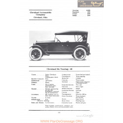 Cleveland Six Touring 40 Fiche Info 1922