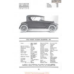 Cole Eight Tuxedo Roadster 861 Fiche Info Mc Clures 1917