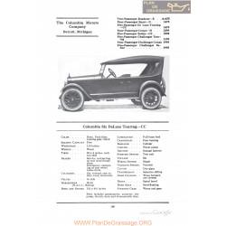 Columbia Six Deluxe Touring Cc Fiche Info 1922
