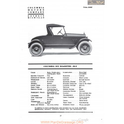 Columbia Six Roadster 20e Fiche Info 1920