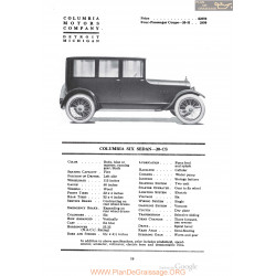 Columbia Six Sedan 20cs Fiche Info 1920