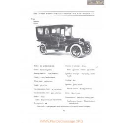 Corbin Model H Limousine Fiche Info 1907