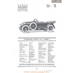 Cunningham Touring 37a Model V Fiche Info 1920