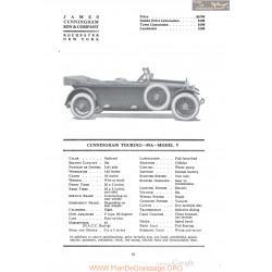Cunningham Touring 59a Model V Fiche Info 1920