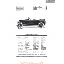Cunningham Touring V Fiche Info 1919