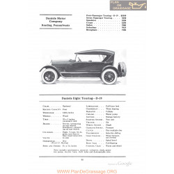 Daniels Eight Touring D19 Fiche Info 1922