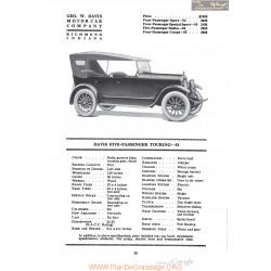 Davis Five Passenger Touring 51 Fiche Info 1920