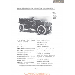 Decauville English Daimler Touring Fiche Info 1906
