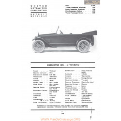Detroiter Six 45 Touring Fiche Info Mc Clures 1917