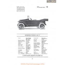 Detroiter Touring Car F Fiche Info 1916