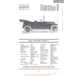 Dodge Brothers Touring 5 Fiche Info 1918