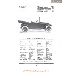 Dodge Brothers Touring 5 Fiche Info 1919