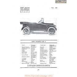 Dort Touring Car 5 Fiche Info 1916
