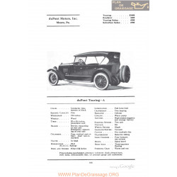 Dupont Touring A Fiche Info 1922