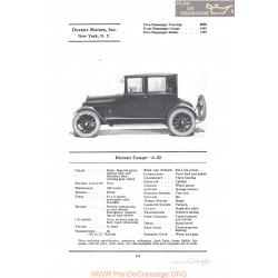 Durant Coupe A22 Fiche Info 1922