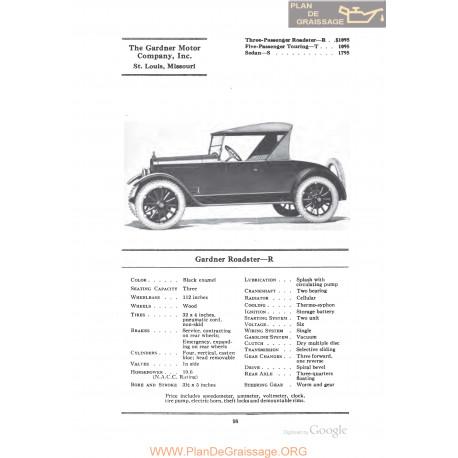 Gardner Roadster R Fiche Info 1922