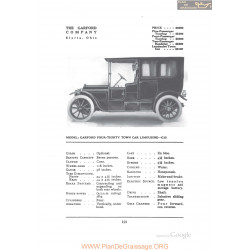 Garford Four Thirty Town Car Limousine G12 Fiche Info 1912