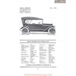 Great Western 1916 Touring Car Fiche Info 1916