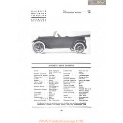 Hackett Four Touring Fiche Info 1917