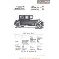 Handley Knight Coupe B Fiche Info 1922