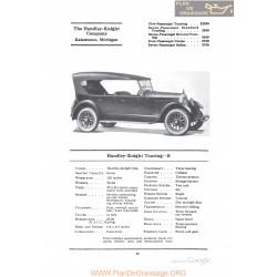 Handley Knight Touring B Fiche Info 1922