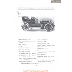 Hewitt Touring Fiche Info 1906