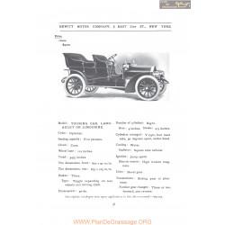 Hewitt Touring Landaulet Or Limousine Fiche Info 1907
