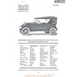 Hollier Six Touring 206 B Fiche Info 1920