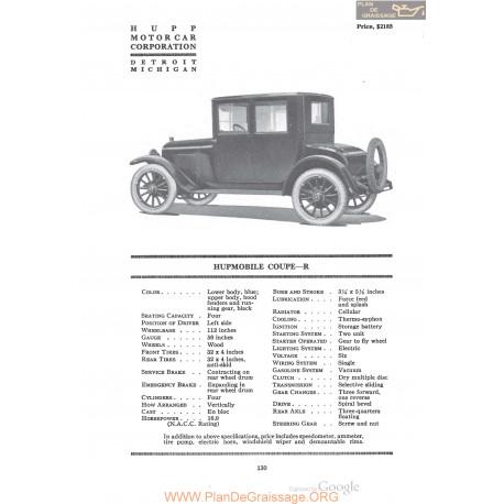 Hupp Hupmobile Coupe R Fiche Info 1920