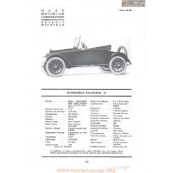 Hupp Hupmobile Roasdster R Fiche Info 1918