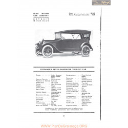 Hupp Hupmobile Seven Passenger Touring Car Fiche Info 1916