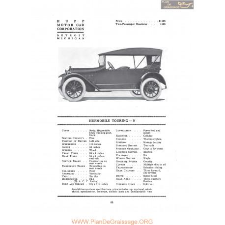 Hupp Hupmobile Touring N Fiche Info 1917