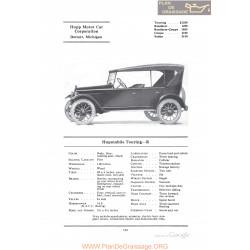 Hupp Hupmobile Touring R Fiche Info 1922