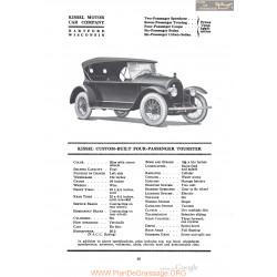 Kissel Custom Built Four Passenger Tourster Fiche Info 1920