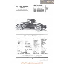 Kissel Custom Built Speedster Fiche Info 1922