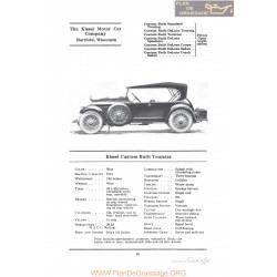 Kissel Custom Built Tourster Fiche Info 1922