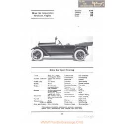 Kline Kar Sport Touring Fiche Info 1922
