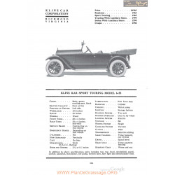 Kline Kar Sport Touring Model 6 55 Fiche Info 1920