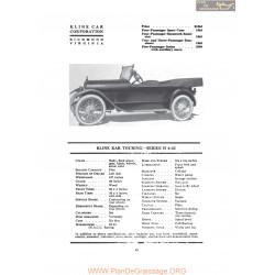 Kline Kar Touring Series H 6 42 Fiche Info 1919