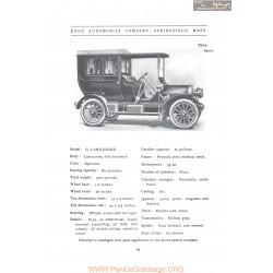Knox Model G Limousine Fiche Info 1906
