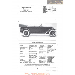 Lafayette Touring Fiche Info 1922