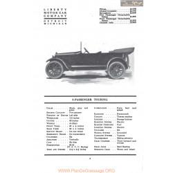 Liberty 5 Passenger Touring Fiche Info 1917