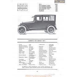 Liberty Six Sedan 10c Fiche Info 1920