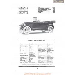 Liberty Six Touring 10b Fiche Info 1919
