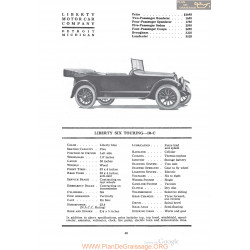 Liberty Six Touring 10c Fiche Info 1920