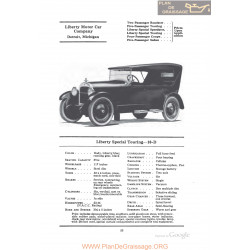 Liberty Special Touring 10d Fiche Info 1922