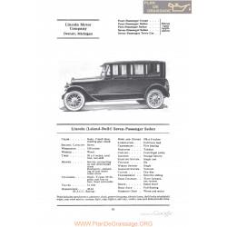 Lincoln Leland Built Seven Passenger Sedan Fiche Info 1922
