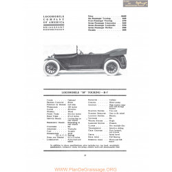 Locomobile 38 Touring R7 Fiche Info 1917