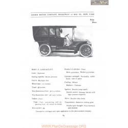 Lozier Model F Landaulet Fiche Info 1907